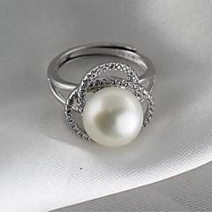 billige Motering-Dame Band Ring Knokering - Perle, S925 Sterling Sølv Klassisk, Vintage, Elegant 8 Sølv Til Daglig Formell