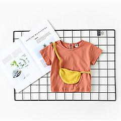 billige Babyoverdele-Baby Pige Aktiv Ensfarvet / Farveblok Kortærmet Polyester T-shirt Hvid