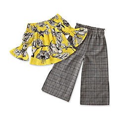 billige Sett med babyklær-Baby Pige Blomstret / Trykt mønster / Houndstooth mønster Halvlange ærmer Tøjsæt
