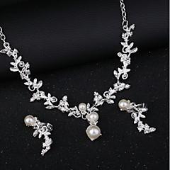 baratos Conjuntos de Bijuteria-Mulheres Diamante sintético Clássico Conjunto de jóias - Flor Romântico Incluir Brincos Curtos Gargantilhas Prata Para Noivado Festival
