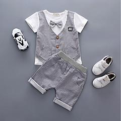 billige Sett med babyklær-Baby Pige Afslappet I-byen-tøj / Fødselsdag Stribet Kortærmet Kort Bomuld Tøjsæt Lysegrøn 100