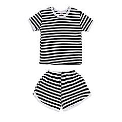 billige Tøjsæt til drenge-Baby Drenge Sort og hvid Stribet Kortærmet Tøjsæt