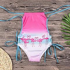 billige Badetøj til piger-Børn Pige Flamingos Ensfarvet / Geometrisk / Farveblok Uden ærmer Badetøj