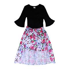 billige Tøjsæt til piger-Baby Pige Blomstret 3/4-ærmer Tøjsæt
