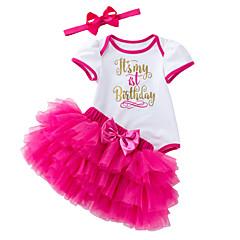 billige Babytøj-Baby Pige Trykt mønster Kortærmet Tøjsæt