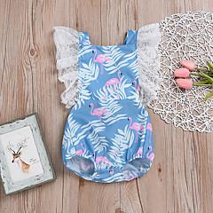 billige Babytøj-Baby Pige Aktiv / Sofistikerede Ferie Tropisk blad / Flamingos Blomstret Blonder / Drapering / Trykt mønster Uden ærmer Bodysuit