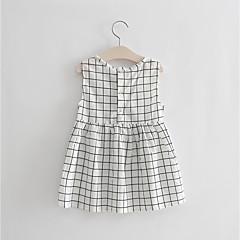 baratos Roupas de Meninas-Infantil Para Meninas Quadriculada Sem Manga Vestido