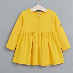 billige Pigetoppe-Baby Pige Basale Ensfarvet Langærmet Skjorte