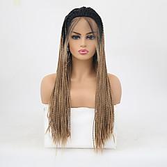 billiga Peruker och hårförlängning-twist Flätor / Syntetiska snörning framifrån Matt Fläta Syntetiskt hår Värmetåligt / Ombre-hår Blond Peruk Dam Lång Spetsfront