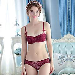 billige BH'er-Kvinner Sexy Sett med truse og BH Dytt opp / BH med bøyler 1/2-kopp - Ensfarget / Jacquardvevnad / Broderi
