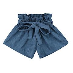 billige Babyunderdele-Baby Pige Basale Ensfarvet Blondér Bomuld Shorts