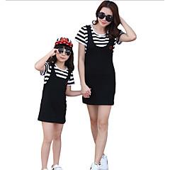 billige Sett med familieklær-Mamma og meg Grunnleggende Daglig Stripet Kortermet Polyester Kjole Hvit Jenter 120