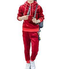 billige Tøjsæt til piger-Børn Pige Basale / Gade Sport Ensfarvet Langærmet Kort Kort Bomuld Tøjsæt