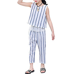 baratos Roupas de Meninas-Infantil Para Meninas Activo / Moda de Rua Para Noite Listrado Pregueado / Estampado Manga Curta Algodão Conjunto