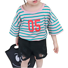 billige Babyoverdele-Baby Pige Stribet 3/4-ærmer T-shirt