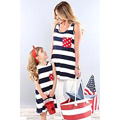 billige Sett med familieklær-Baby Mamma og meg Aktiv / Grunnleggende Ut på byen Stripet / Fargeblokk Trykt mønster Ermeløs Bluse