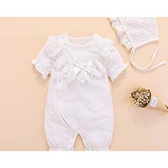 billige Babytøj-Baby Pige Basale Ensfarvet Drapering Kort Ærme Bomuld En del