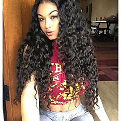 billiga Peruker och hårförlängning-Remy-hår Peruk Brasilianskt hår Vågigt Frisyr i lager 150% Densitet Med Babyhår / Mittbena / Till färgade kvinnor Svart Dam Lång / Mellanlängd Äkta peruker med hätta