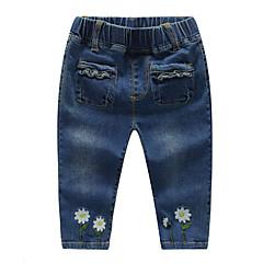 billige Babyunderdele-Baby Pige Basale Daglig Blomstret Bomuld / Spandex Jeans Blå 100