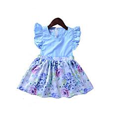 billige Babykjoler-Baby Pige Basale Daglig / Sport Ensfarvet Trykt mønster Kortærmet Normal Normal Over knæet Bomuld Kjole Lyseblå 100