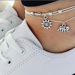 baratos Bijoux de Corps-Camadas tornozeleira - Elefante, Sol Simples Prata Para Diário / Mulheres