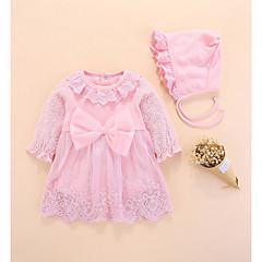 billige Babykjoler-Baby Pige Basale Ensfarvet Langærmet Bomuld Kjole