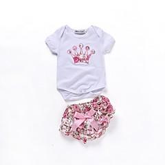 billige Sett med babyklær-Baby Pige Aktiv Daglig Trykt mønster Kortærmet Lang Bomuld / Polyester Tøjsæt Hvid