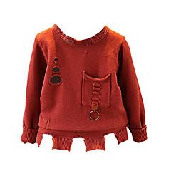 billige Sweaters og cardigans til drenge-Børn Drenge Ensfarvet Langærmet Trøje og cardigan