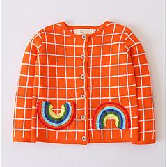 billige Sweaters og cardigans til piger-Børn Pige Ternet Langærmet Trøje og cardigan
