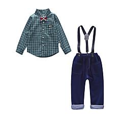 billige Tøjsæt til drenge-Børn Drenge Vintage / Aktiv Fest / I-byen-tøj Ruder Langærmet Normal Bomuld / Akryl Tøjsæt Grøn