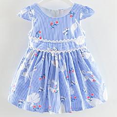 billige Babykjoler-Baby Pige Stribet / Blomstret Kortærmet Kjole