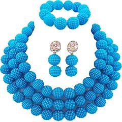 baratos Conjuntos de Bijuteria-Mulheres Camadas Conjunto de jóias - MOON Fashion Incluir Strands Necklace Azul / Rosa claro / Rosa Para Diário
