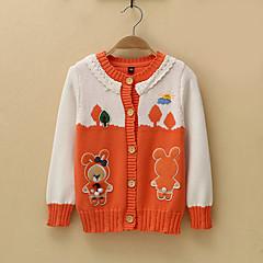 billige Sweaters og cardigans til piger-Børn / Baby Pige Aktiv Trykt mønster Uden ærmer / Langærmet Bomuld Trøje og cardigan