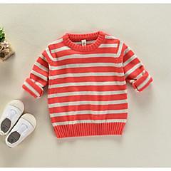 billige Sweaters og cardigans til piger-Børn Pige Stribet Langærmet Trøje og cardigan