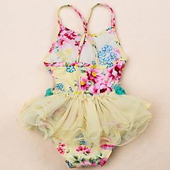 저렴한 여아 수영복-아동 여아 비치 솔리드 / 플로럴 폴리에스테르 수영복 옐로우