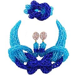 baratos Conjuntos de Bijuteria-Mulheres Camadas Conjunto de jóias - MOON Fashion Incluir Strands Necklace Vermelho / Azul / Champanhe Para Casamento