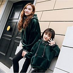 billige Sett med familieklær-Mamma og meg Grunnleggende Daglig Ensfarget Langermet Normal Polyester Hettegenser og sweatshirt Rød Jenter 130
