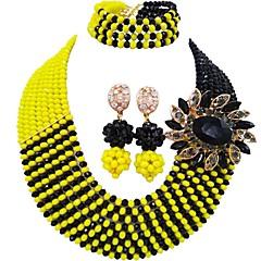 baratos Conjuntos de Bijuteria-Mulheres Camadas Conjunto de jóias - Cristal Austríaco MOON Fashion Incluir Strands Necklace Azul Escuro / Amarelo / Vermelho Para Casamento Festa