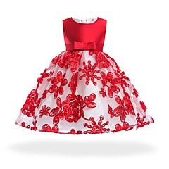 رخيصةأون فساتين البيبي-فستان قطن طول الركبة بدون كم بقع حزب قديم فتيات طفل
