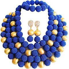 baratos Conjuntos de Bijuteria-Mulheres Camadas Conjunto de jóias - MOON Fashion Incluir Strands Necklace Verde / Rosa claro / Rosa Para Casamento / Festa