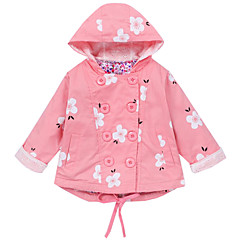 billige Jakker og frakker til piger-Børn Pige Geometrisk Langærmet Trenchcoat