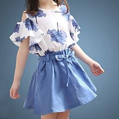 billige Tøjsæt til piger-Børn Pige Ensfarvet / Blomstret Kortærmet Tøjsæt