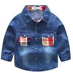 billige Overdele til drenge-Børn Drenge Basale Daglig Patchwork Patchwork Langærmet Normal Bomuld / Polyester Skjorte Blå