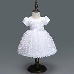 billige Babykjoler-Baby Pige Aktiv / Basale Fest / Fødselsdag Ensfarvet Flettet Kortærmet Knælang Polyester Kjole Hvid 100