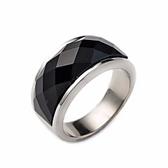 billige Motering-Par Obsidian Elegant Ring - Titanium Stål Stilfull, Geometrisk 7 / 8 / 9 / 10 / 11 Svart Til Daglig Skole