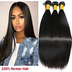 cheap Hair Extensions-3 Bundles Peruvian Hair Straight Human Hair Natural Color Hair Weaves / Hair Bulk / Extension 8-28 inch Natural Human Hair Weaves Machine Made Sexy Lady / Best Quality / Hot Sale Human Hair Extensions