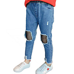 billige Jeans til piger-Børn Pige Gade / Punk & gotisk Sport Ensfarvet / Patchwork Hul / Patchwork Bomuld Jeans