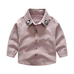 baratos Roupas de Meninos-Infantil Para Meninos Sólido Manga Longa Camisa