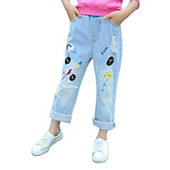 billige Jeans til piger-Børn Pige Gade / Punk & gotisk Sport Trykt mønster Kvast / Hul / Ribbet Bomuld Jeans