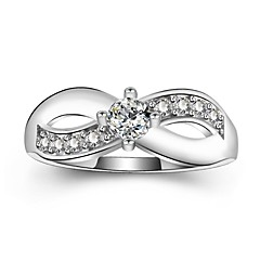 billige Motering-Dame Kubisk Zirkonium Stable / crossover Ring / Løftering - Platin Belagt Romantikk, Elegant 5 / 6 / 7 Hvit Til Fest / Engasjement